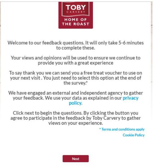 Toby Carvery customer survey