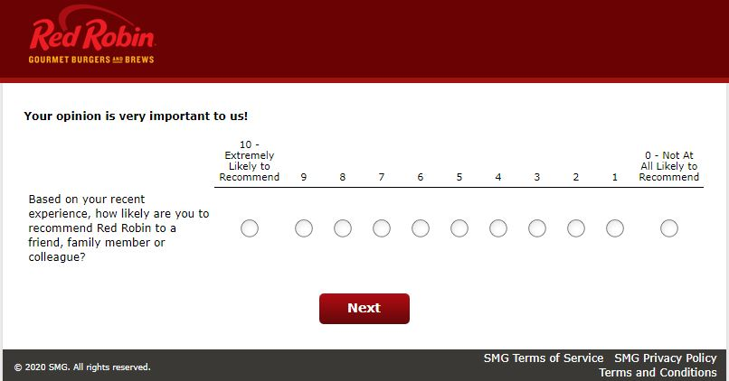 red robin survey sweepstakes